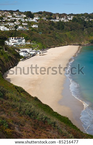 Carbis Bay in St Ives Cornwall - stock photo