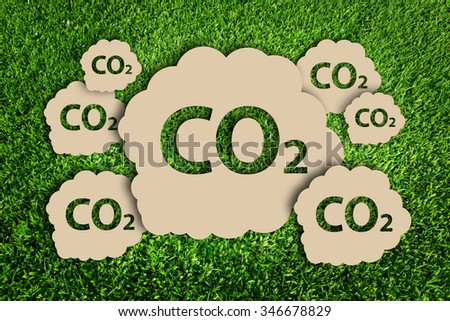Carbon dioxide. Air Pollution concept. Paper cut of eco on green grass. - stock photo