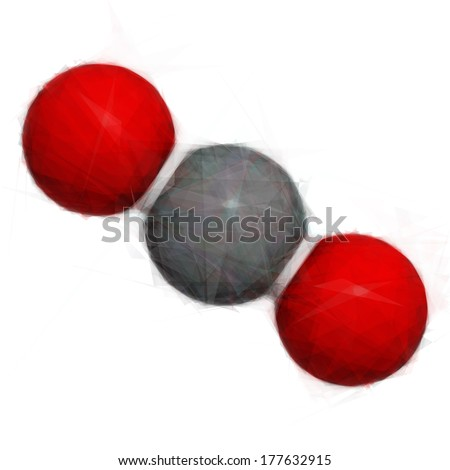 Carbon dioxide (CO2) greenhouse gas molecule. Stylized image. - stock photo
