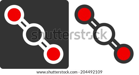 Carbon dioxide (CO2) molecule, flat icon style. Greenhouse gas. Atoms shown as color-coded circles (oxygen - red, carbon - white/grey). - stock photo