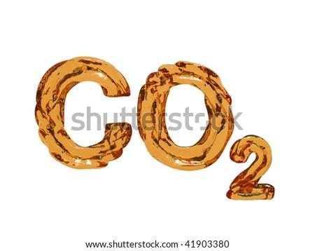 carbon dioxide (CO2) symbol letters - stock photo