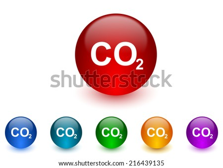 carbon dioxide internet icons colorful set - stock photo