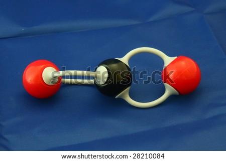 Carbon dioxide molecule model - stock photo
