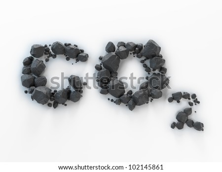 Carbon dioxide symbol - CO2 made out of lumps of coal - stock photo