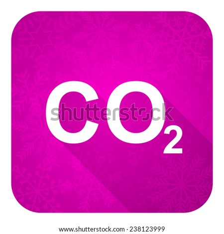 carbon dioxide violet flat icon, christmas button, co2 sign  - stock photo
