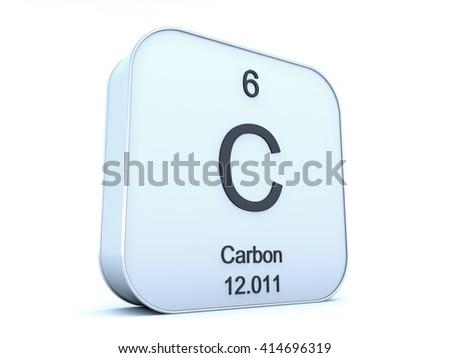 Carbon element on white square icon - stock photo