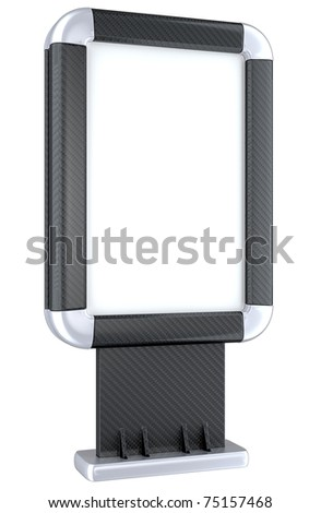 Carbon fiber advertising lightbox isolated on stand on the white background - stock photo