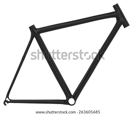 Carbon fiber bike frame isolated on white - stock photo