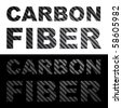 Carbon fiber clip art words with texture isolated over black and white. - stock photo