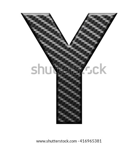 Carbon fiber english alphabet letter, isolated on white background