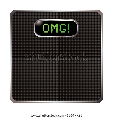 Carbon fiber surface bathroom scales with omg weight exclamation - stock photo