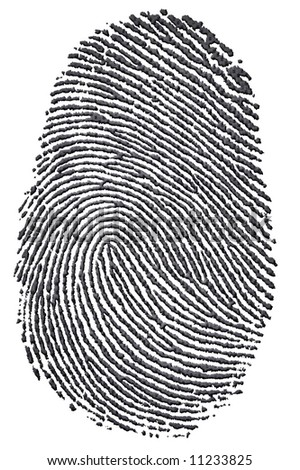 Carbon fingerprint made from a photo of genuine carbon fibre, isolated on a white background. Environmental concept of leaving a carbon footprint. - stock photo