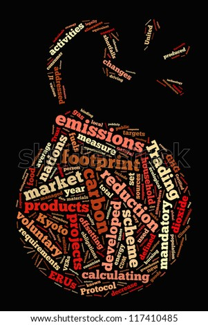 Carbon footprint in bomb shape collage - stock photo