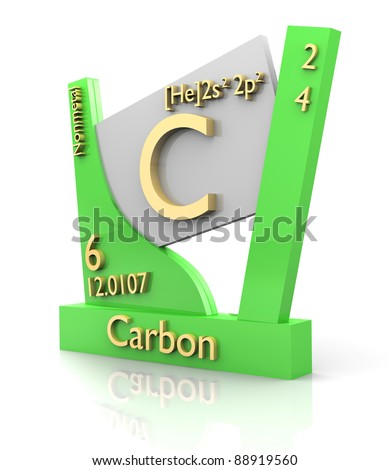 Carbon form Periodic Table of Elements - 3d made - stock photo