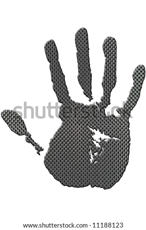 Carbon handprint made from a photo of genuine carbon fibre, isolated on a white background with clipping path. - stock photo