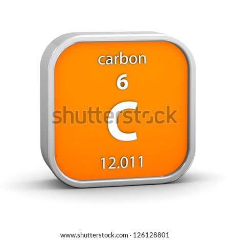 Carbon material on the periodic table. Part of a series. - stock photo