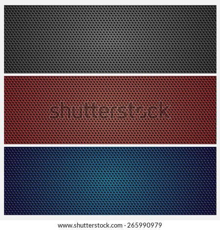 Carbon / metal grid texture set. Colored background - stock photo