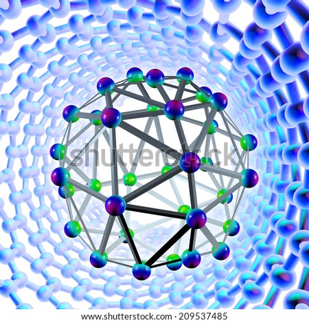 Carbon nano-tubes on dark background - stock photo
