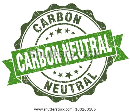 Carbon neutral green grunge retro vintage isolated seal - stock photo