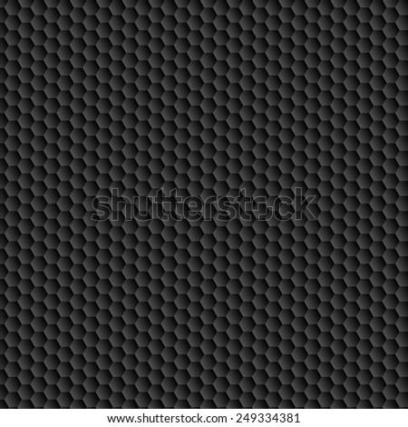 Carbon pattern. Black hexagon convex texture.  - stock photo