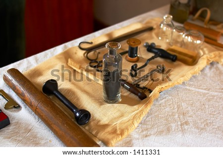 Carbon powder used to brush teeth in 1820s. More with keyword Series08C. - stock photo