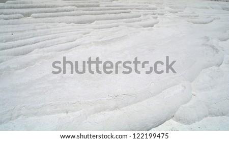 Carbonate travertines terraces in Pamukkale, Turkey - stock photo