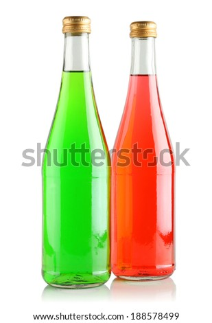 Carbonated drinks in glass bottles on a white background