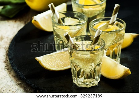 Carbonated lemonade with lemon slices on dark stone background, selective focus