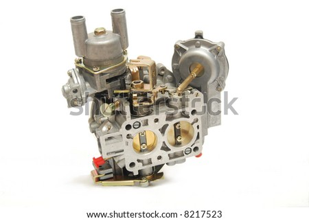 Carburetor from car engine, isolated on white - stock photo