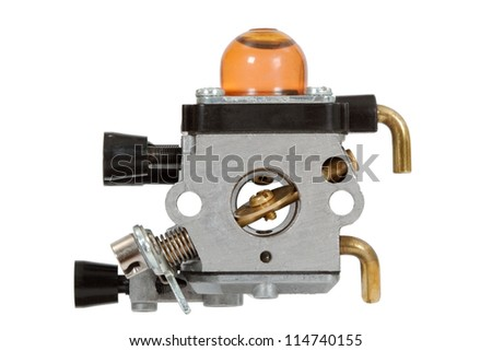 Carburetor - part of the fuel system of gasoline internal combustion engine - stock photo