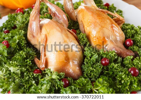 Carcasses of quail roasted with sweet sour cranberry sauce and parsley