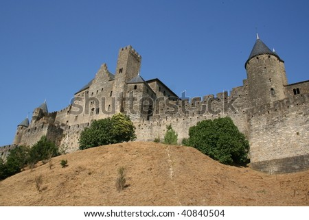 Carcassone castle wall - stock photo