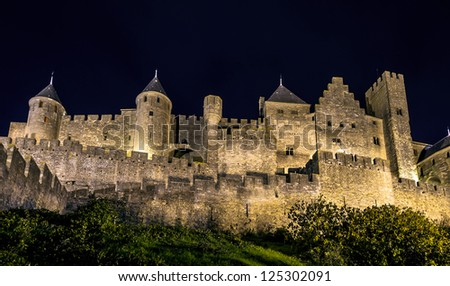 Carcassone medieval castle night view. Languedoc, France. - stock photo