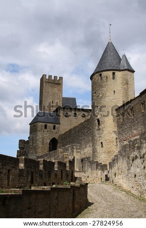 carcassonne castle in France - stock photo