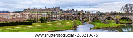 Carcassonne fortress and Pont Vieux - France, Languedoc-Roussillon - stock photo