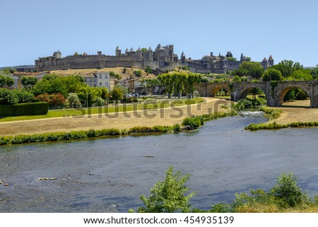 Carcassonne - France, July 17, 2016: Castle of Carcassonne and Pont Vieux bridge in southern France