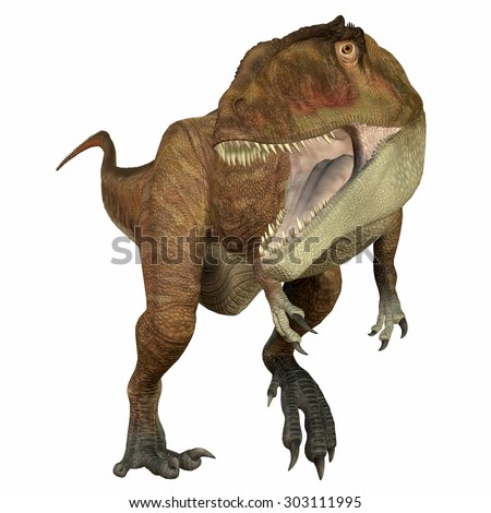 Carcharodontosaurus Carnivore - Carcharodontosaurus was a carnivorous theropod dinosaur that lived in Sahara, Africa during the Cretaceous Period. - stock photo