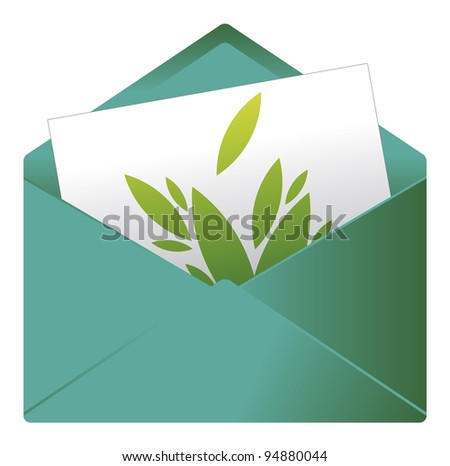 Card and graphic sign in an envelope