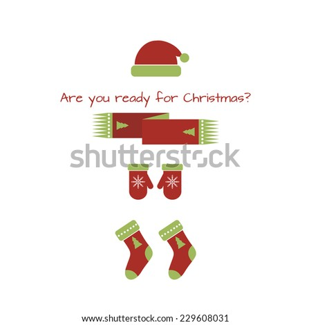 """Card """"Are you ready for Christmas?"""" Christmas look. Raster version - stock photo"""