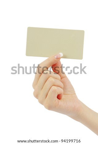 card blank in a hand