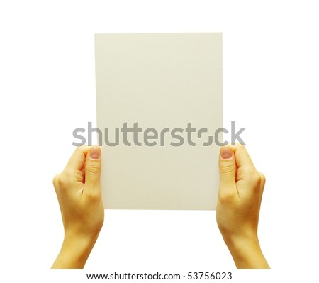 card blank in a hand isolated on white - stock photo