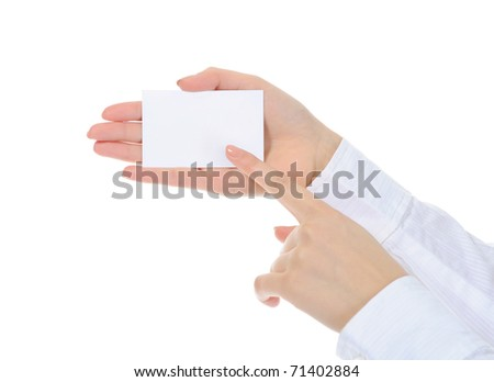 card blank in a hand. Isolated on white background
