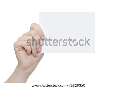 card blank in a hand on the white background - stock photo