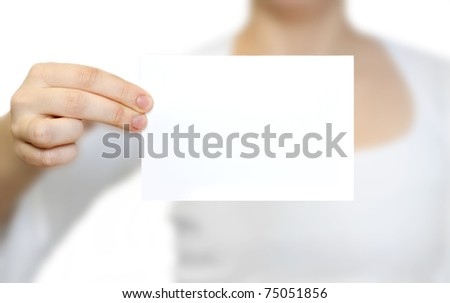 card blank in a hand on the white baskground