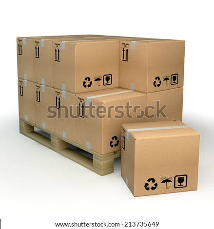 Card boxes on palette - stock photo