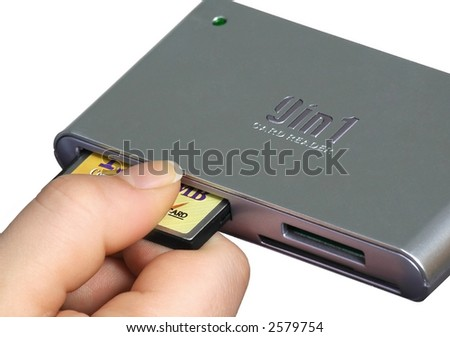 card compact flash and card reader on a white background - stock photo
