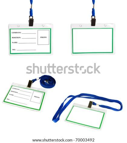 card empty ID badge isolated on white background - stock photo