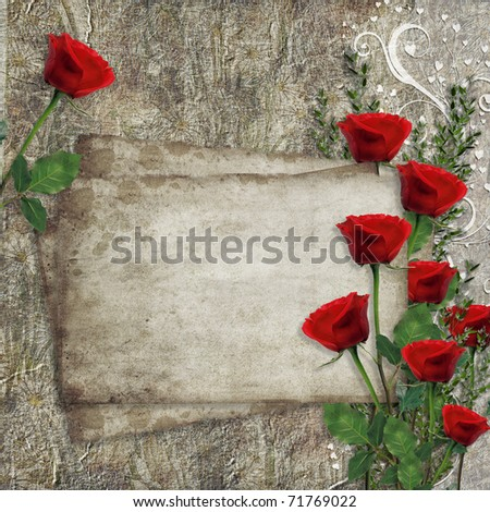 Card for congratulation or invitation with  hearts and red roses - stock photo