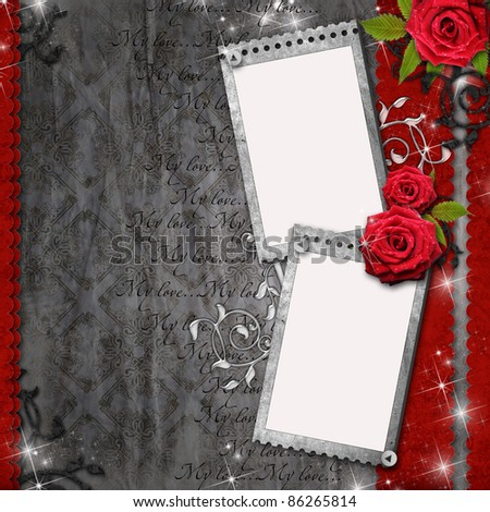 Card for congratulation or invitation with  red roses - stock photo