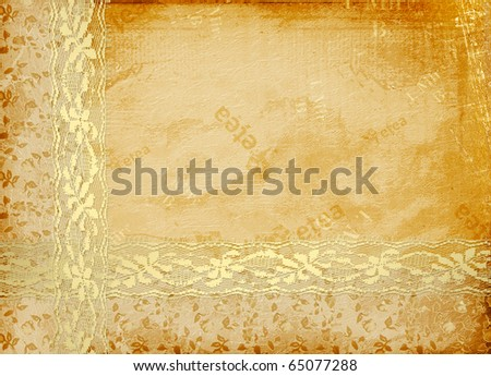 Card for invitation or congratulation with lace - stock photo